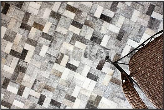 Bunkar Handmade Cowhide Leather Patchwork Designer Area Rugs 'Anodyne' 9'x12' 270cms x 360cm