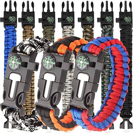 15in1 Survival Flint Fire Starter Whistle Camping Gear Buckle Paracord Braclet B