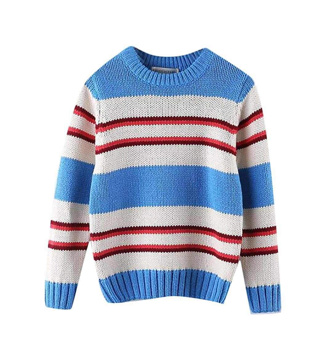 Lutratocro Boys Slim Pullover Striped Soft Knitted Cute Sweater