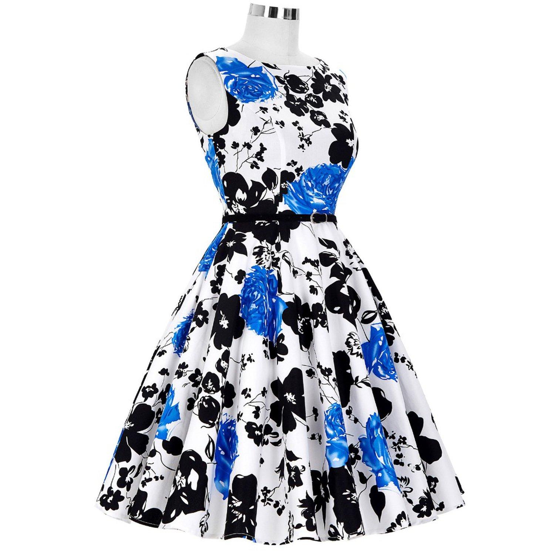 Big Size Audrey Hepburn Dresses Dress 2018 Floral Retro Pinup Rockabilly 50s Vintage Dresses Vestidos at Amazon Womens Clothing store: