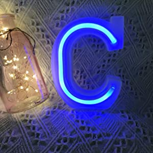 QiaoFei Light Up Marquee Letters Lights Letters Neon Signs, Pink Wall Decor/Table Decor for Home Bar Christmas, Birthday Party, Valentinefs Day Words-Blue Letters (C)