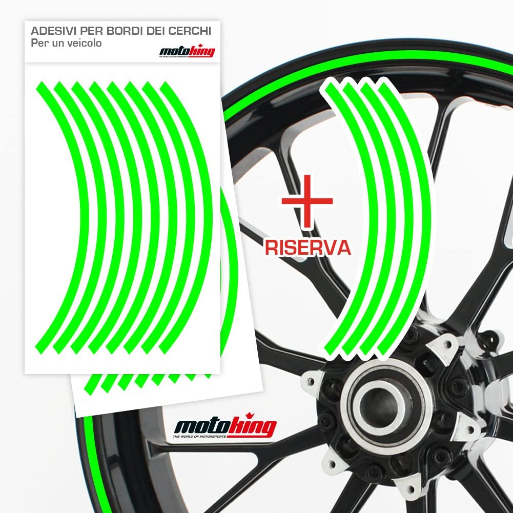 Colore e Larghezza a Scelta Motoking Adesivi per Bordi dei Cerchi 360/° Intero Cerchio//da 15 a 18