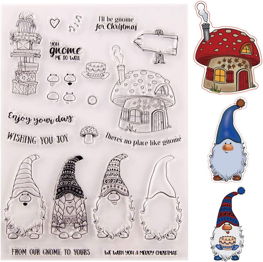 Mixed Calendar Planner Clear Transparent Rubber Silicone Stamps Seal Block Santa Gnome Rubber Stamp Christmas Silicone Stamps for Card Making Scrapbooking Journaling DIY Album Decoration