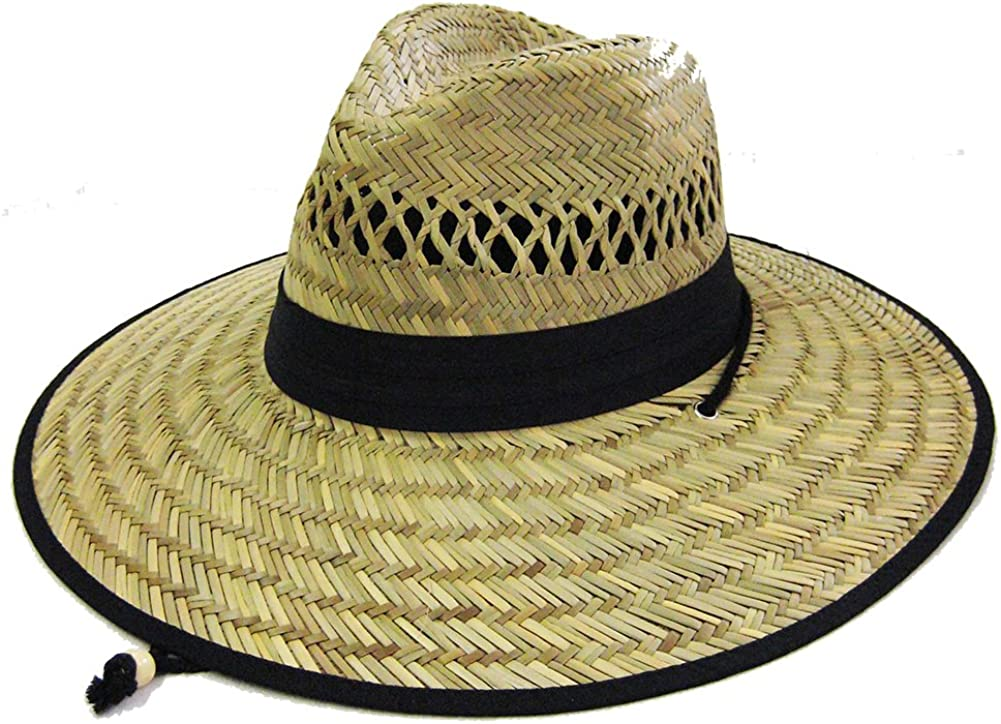 Mens Straw Outback Lifeguard Beach Surf Sun Hat with Wide Brim