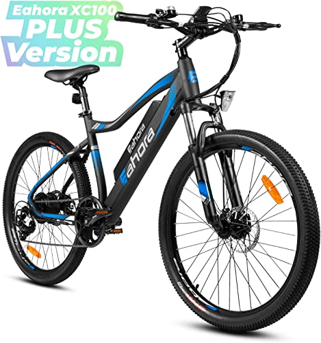 Eahora XC100 Plus 26Inch Mountain Electric Bicycle Removable Lithium Battery Urban Commuter Electric Bike for Adults 350W Motor E-bike E-pas Power Regeneration Max 80 Miles System 7 Speed, Plus Standard