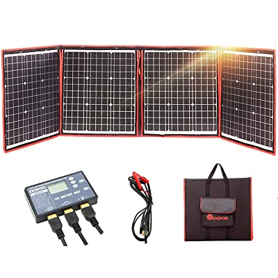 DOKIO 160 Watts 12 Volts Monocrystalline Foldable Solar Panel Kit with Solar Charger Controller for RV Camping Canavas : Garden & Outdoor