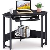 ODK Corner Desk, Triangle Computer Desk, Sturdy Steel Frame for Workstation with Smooth Keyboard Tray & Storage Shelves, Blac