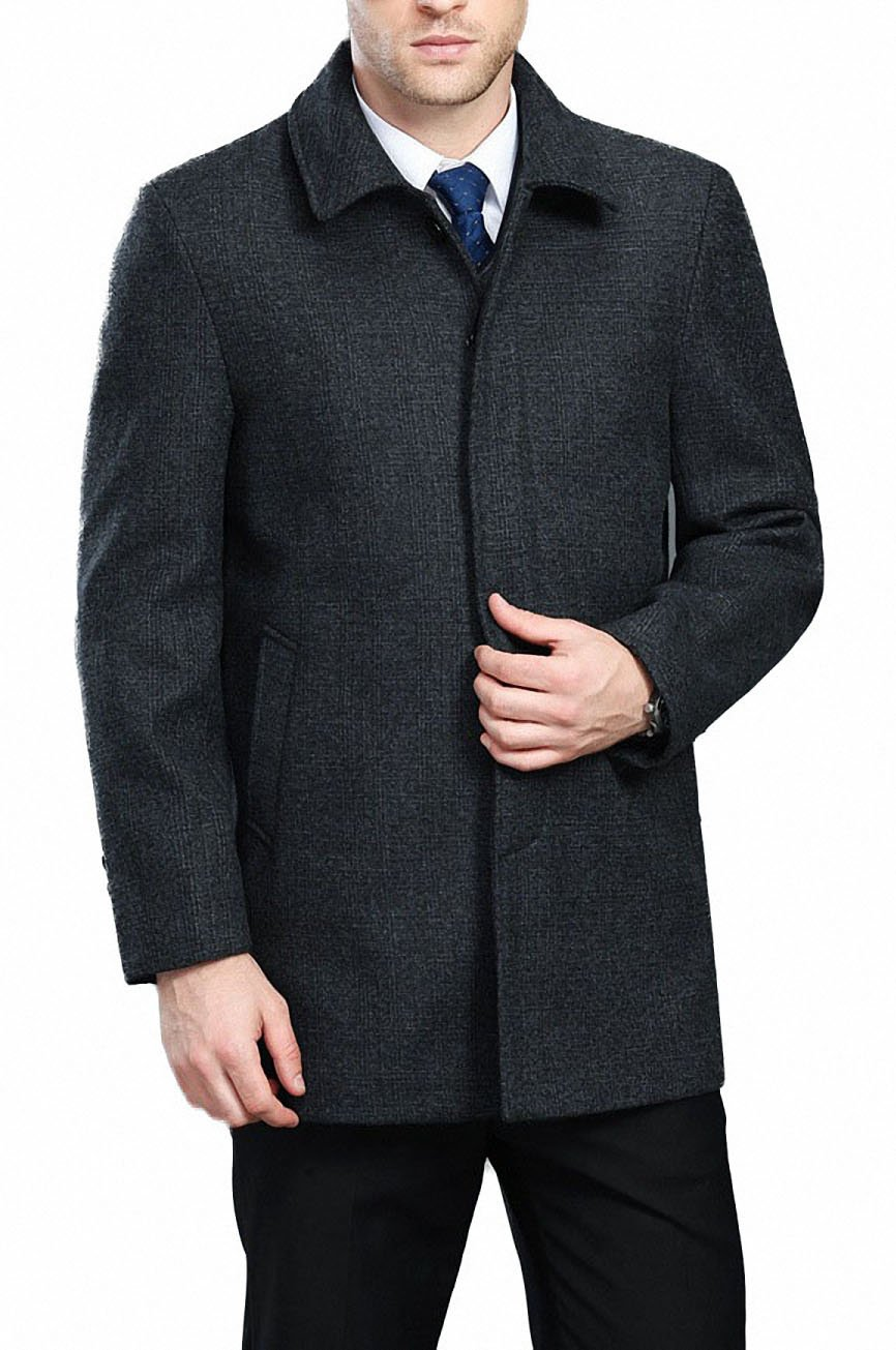 FASHINTY Men's Classical Bussiness Style Single Breasted Plaid Wool Coat #00220 D Gray L