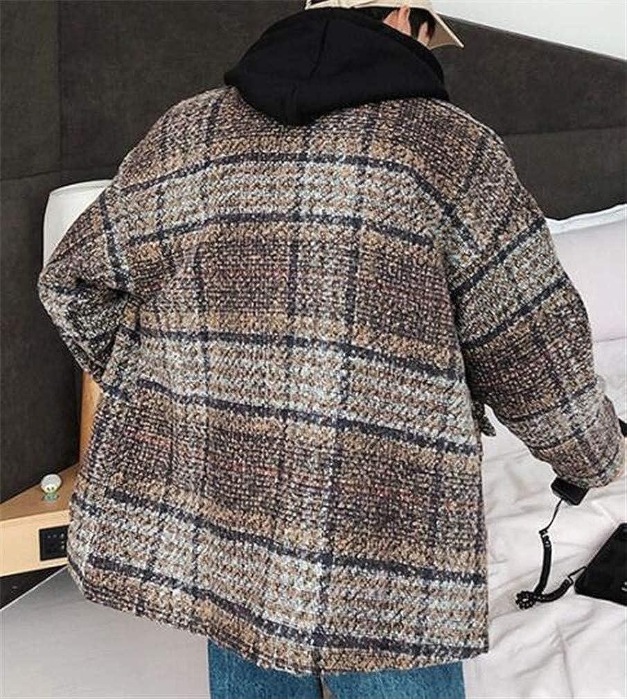 Cromoncent Mens Plaid Loose Padded Wool Blend Lapel Neck Sports Blazer Jacket Camel XL