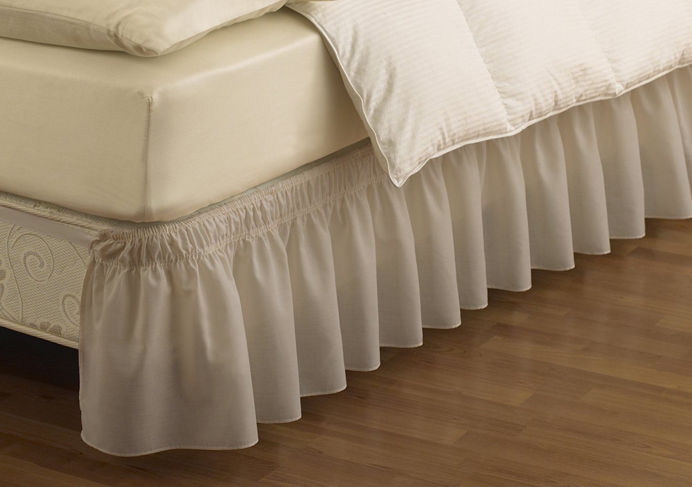 easyfit wrap around solid ruffled bed skirt queen king camel ebay. Black Bedroom Furniture Sets. Home Design Ideas