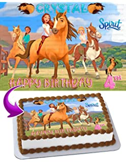 Spirit Riding Free Edible Image Cake Topper Party Personalized 1 4 Sheet Amazon Com Grocery Gourmet Food
