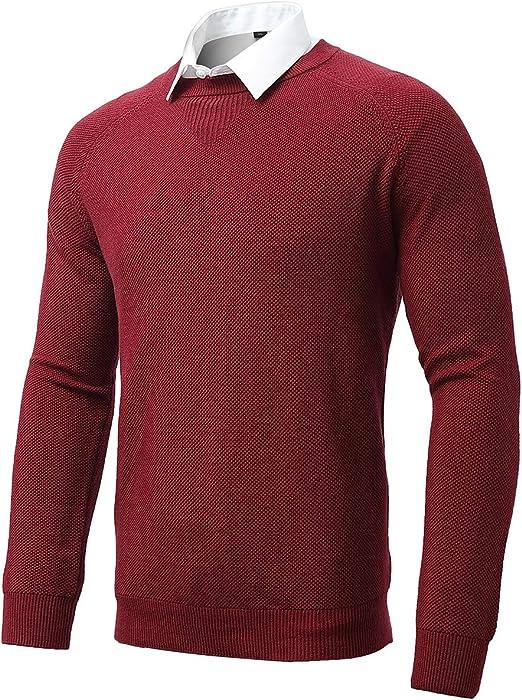 INFLATION Jersey de cuello redondo para hombre, algodón de punto de manga larga de invierno