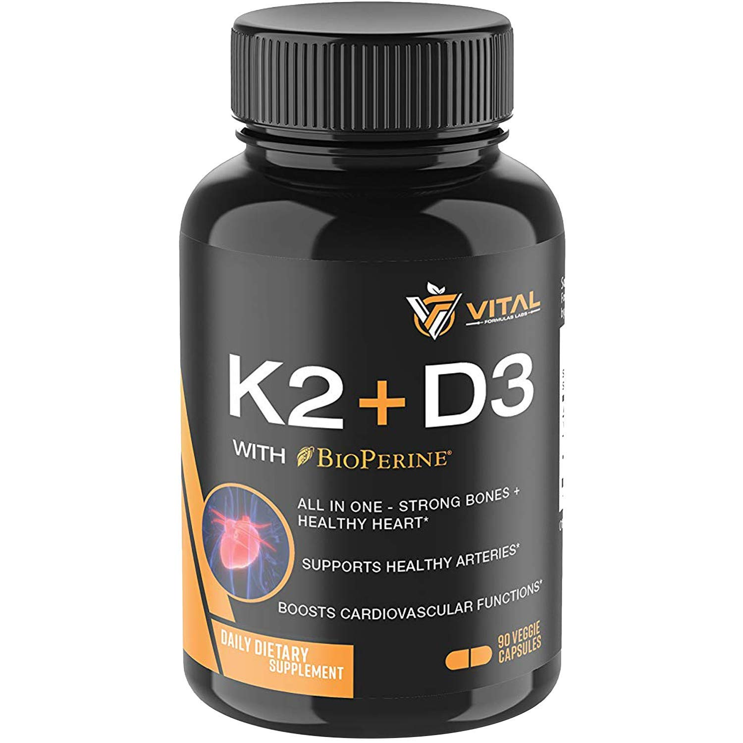 Vitamin K2 MK7 (100mcg) with Vitamin D3 (5000 IU) - 3-Months Supply of Vitamin D & K Complex for Healthy Heart and Strong Bones - 90 Veggie Caps with BioPerine®