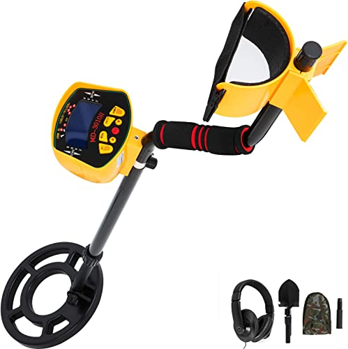 Happibuy Metal Detector Waterproof Disc Metal detectors Underwater Underground high Accuracy LCD Display Metal Detector for Adults and Children Headphone Automatic Detector Yellow 3010