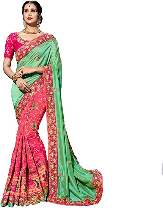 429ad18a51 Amazon.com: DesiButik's Party Wear Alluring Green And Pink Silk Saree:  Clothing