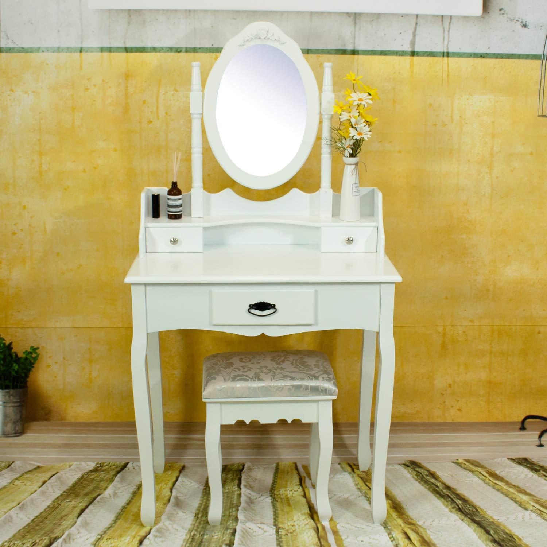 Vanity Table Set,Makeup Dressing Table with 3 Drawers Vanity Bedroom Vanity Set with Stool white
