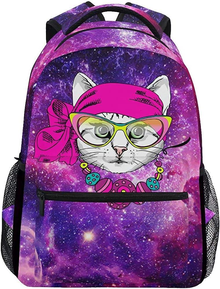 Mochila Escolar Cute Cat Hippie Galaxy Stars Bolso De Hombro Impreso Bolso Universitario Mochila Escolar Única Colegio Universitario Universal Boys Girl