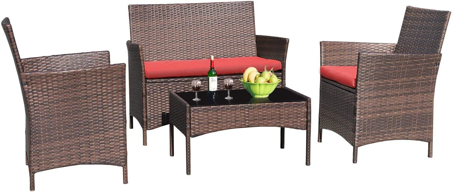Greesum 4 Pieces Patio Outdoor Rattan Furniture Sets, Wicker Chair Conversation Sets, Garden Backyard Balcony Porch Poolside Furniture Sets with Soft Cushion and Glass Table, Brown and Red