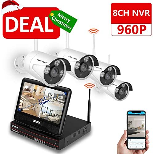 Wireless CCTV Camera Systems,SMONET 8CH 1080P Wireless Security Camera System with 1 Monitor +4 x960P Weatherproof CCTV Bullet Cameras,Free Remote View App,Better Night Vision,Plug&Play