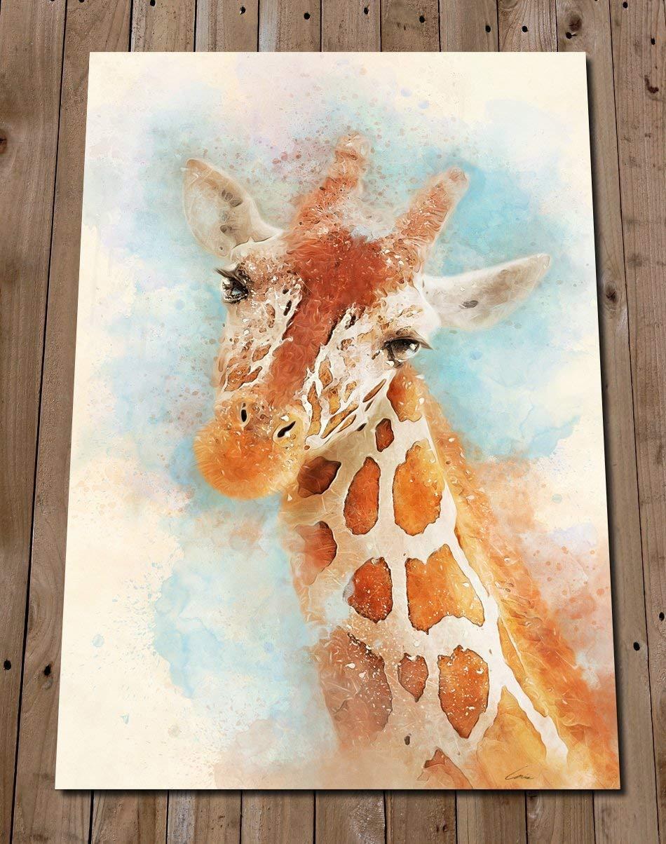 Giraffe Head Print Wall Art Watercolour Painting Gift Idea Safari Nursery Decor Animal Lover Poster Amazon Co Uk Handmade