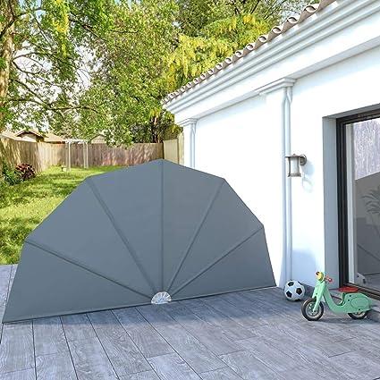 UnfadeMemory Tenda Laterale per Terrazza Pieghevole Forma Ventaglio Balcone Terrazza Terracotta 160x240 cm