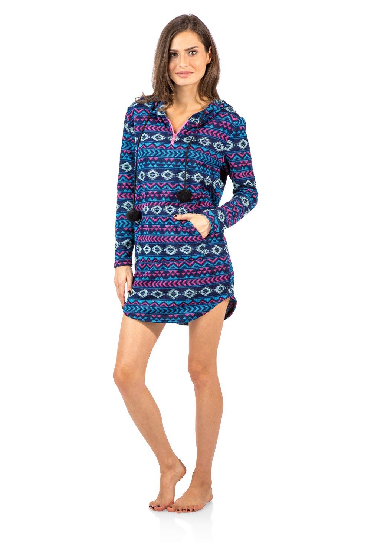 Ashford & Brooks Women's Sweater Fleece Zip Up Hooded Sleep Lounge Shirt - Blue Pink - Large