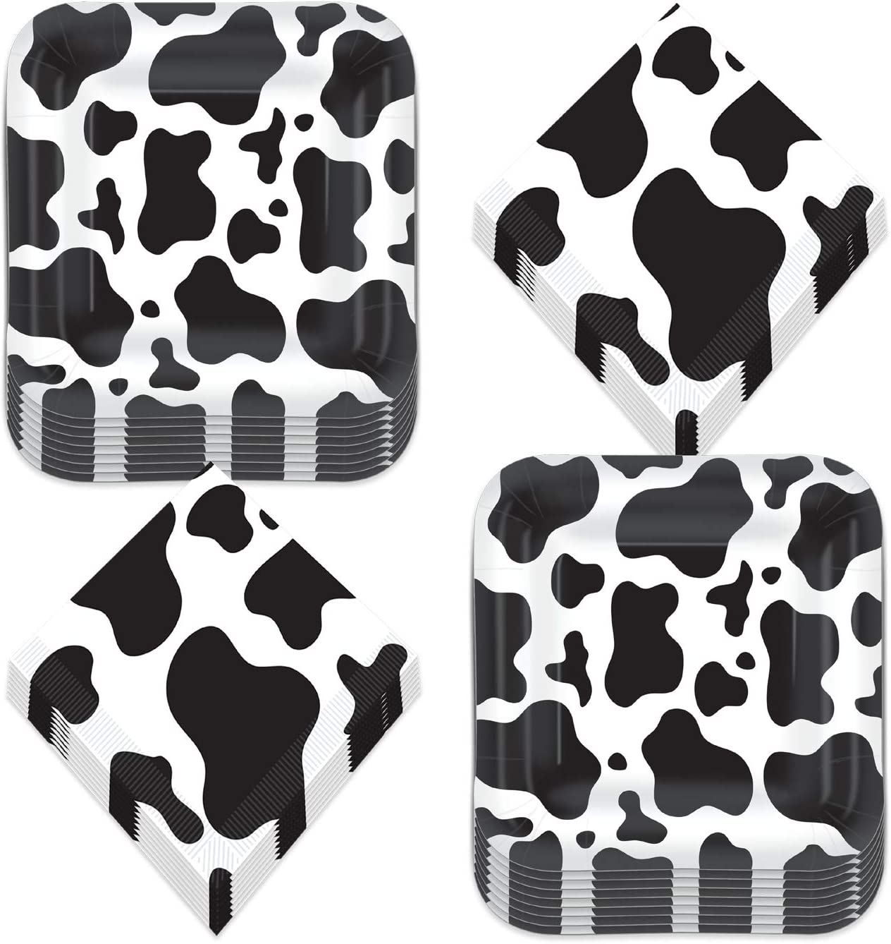 Cow Print Party Supplies - Black and White Cow Print Paper Dessert Plates and Beverage Napkins for Western and Farm Animal Theme Parties (Serves 16)