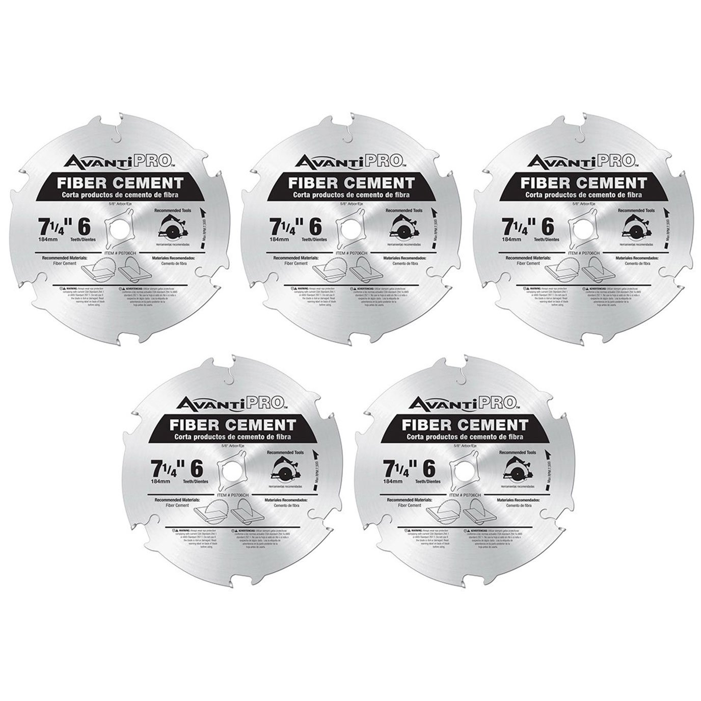 AvantiPro P0706CH 7-1/4-inch 6T Fiber Cement 5/8-inch Arbor Saw Blades, 5-Pack
