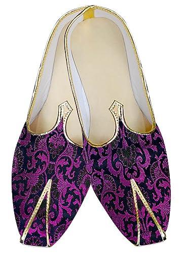 Mens Purple Wedding Shoes Flower Pattern MJ013030
