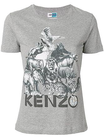 394ada880 KENZO Women's F761ts71999095 Grey Cotton T-Shirt: Amazon.co.uk: Clothing