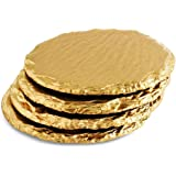 Renee Redesigns Round Hand Painted Gold Slate Drink Coasters, Holiday Gift Set of 4   Protects Table Surfaces   For Hot & Cold Beverages and Candles, Made in USA