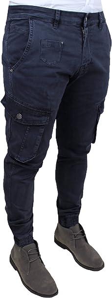 Jeans Uomo Cargo Blu Denim Casual Slim Fit con tasconi Laterali