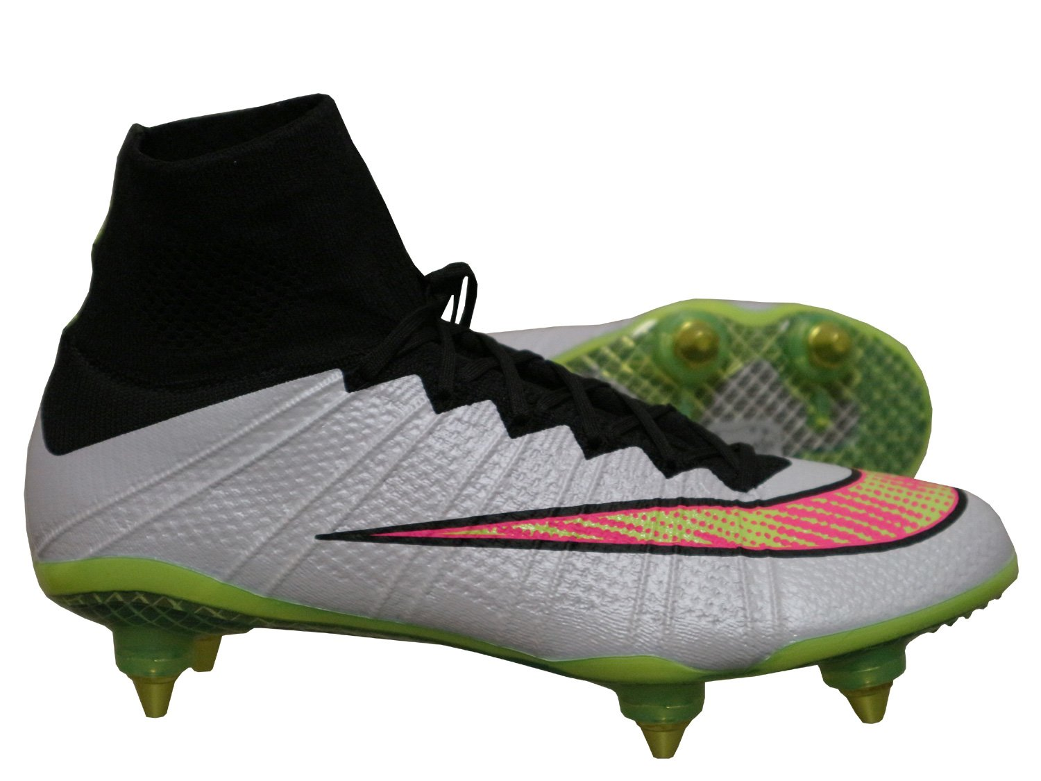 Nike Mercurial Superfly SG Studs Football Boots with Compression Socks White