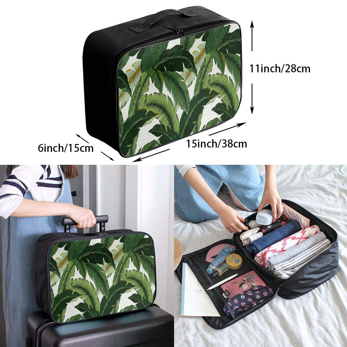 Banana Leaves JTRVW Luggage Bags for Travel Travel Duffel Bag Waterproof Fashion Lightweight Large Capacity Portable Duffel Bag for Men /& Women