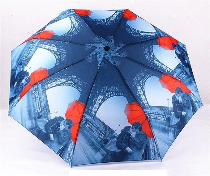 Amazon.com : Katoot@ Oil Painting Umbrella 3 Folding Automatic Umbrella Rain Women And Men Plegable Paraguas De Mujer Parapluie Femme (Peacock Fan) : Sports ...