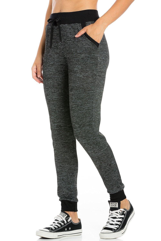 P9809bk My Yuccie Women's Super Soft Comfy Print Jogger Pants with Zipper Side Pockets (S  XL)