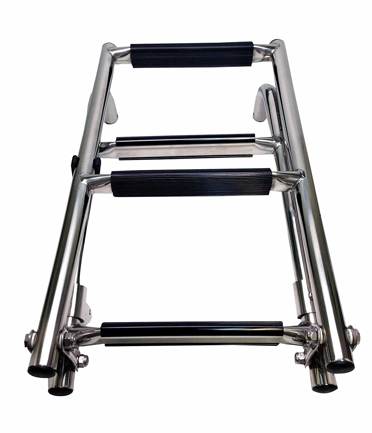 Pactrade Marine Boat Foldable Stainless Steel Four Step Ladders Stern Mount with Rubber Grips