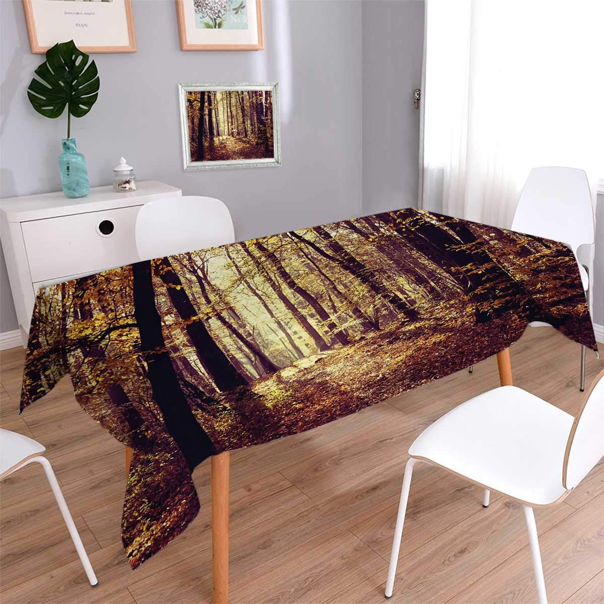 Forest Oblong Customized Tablecloth Mysterious Atmosphere Misty Woods Trees Nature Landscape Stain Resistant Wrinkle Tablecloth Dark Orange Dark Brown Light Yellow Size: W54'' x L72''