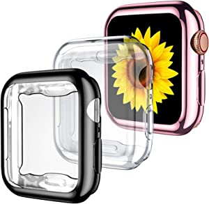 GEAK 3 Pack Compatible with Apple Watch Case 38mm,Soft HD High Sensitivity Screen Protector with TPU All Around Anti-Fall Protective Case Cover for iWatch Series 3/2/1 38mm Black/Clear/Rose Pink
