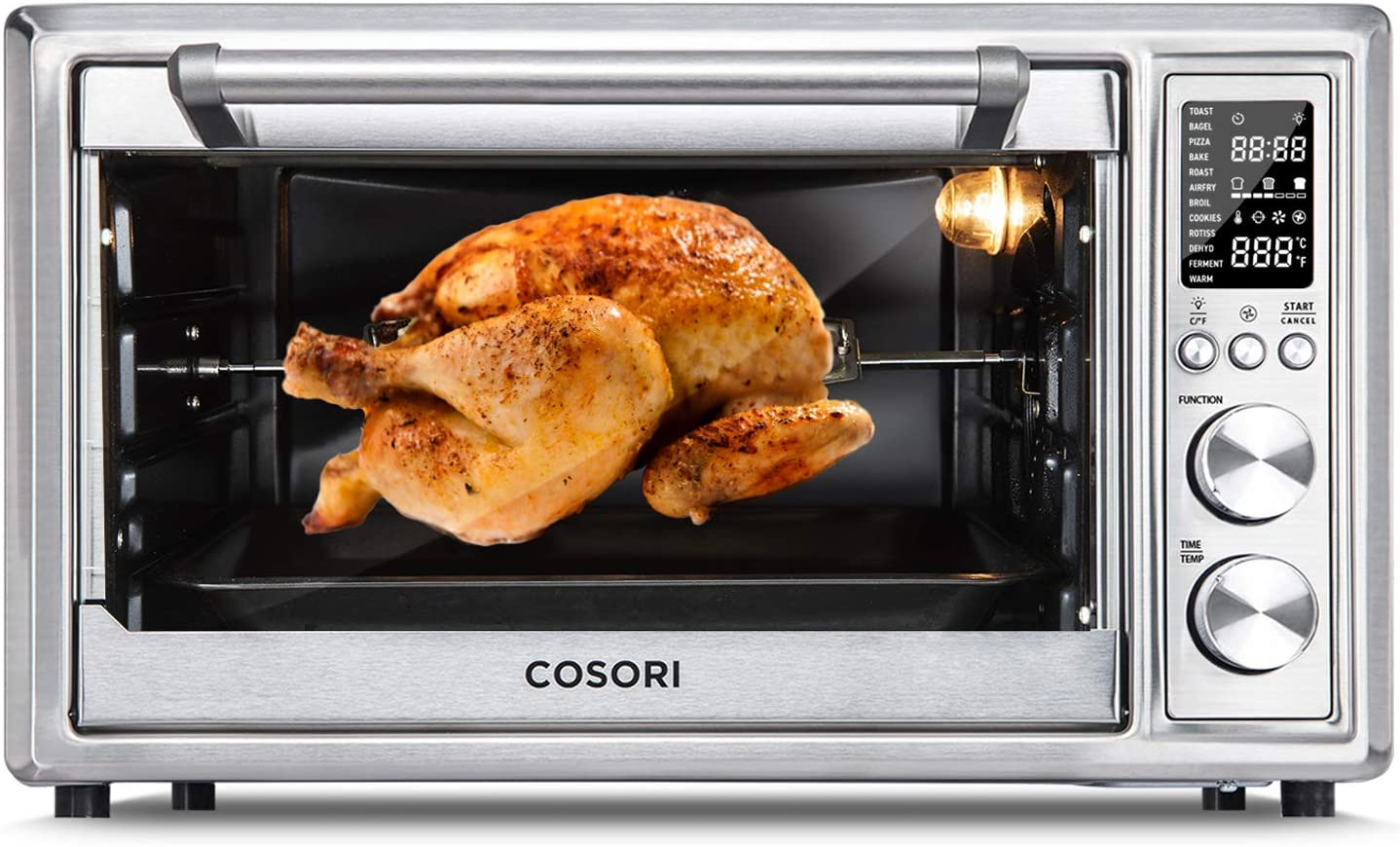 COSORI CO130-AO 12-in-1 Air Fryer Toaster Oven Combo Countertop Dehydrator for Chicken, Pizza and Cookies, Christmas Gift, 30L/31.7 QT, Silver