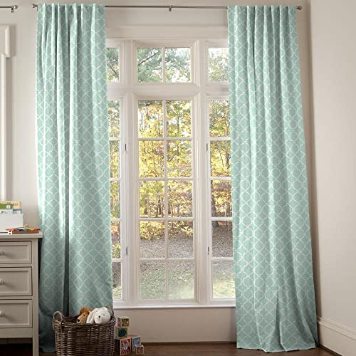 Carousel Designs Mint and White Lattice Circles Drape Panel 96-Inch Length Standard Lining 42-Inch Width