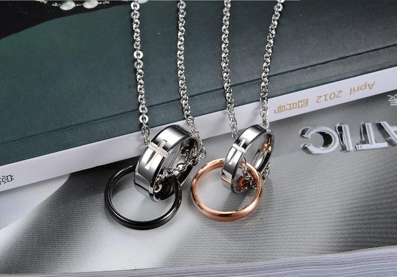 JewelryWe Nueva moda Anillos Dobles de Novios Acero Inoxidable Cruz Collares Parejas