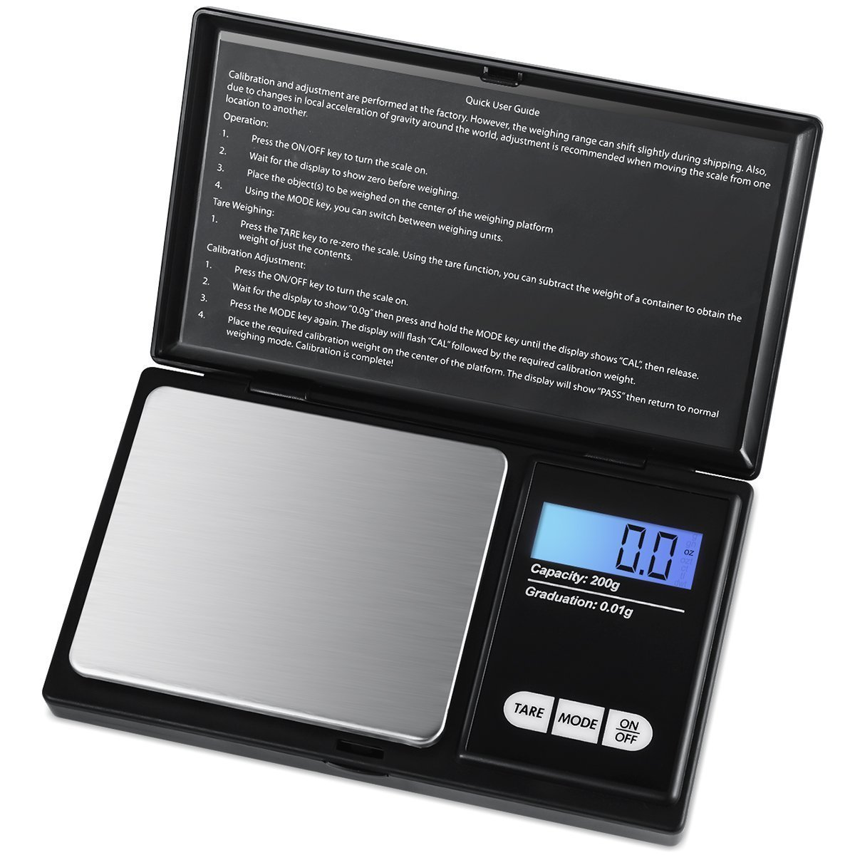 MoonKong Digital Mini Scale, 200g 0.01g/0.001oz Pocket Jewelry Scale, Electronic Smart Scale with 7 Units, LCD Backlit Display, Tare Function, Stainless Steel & Slim Design