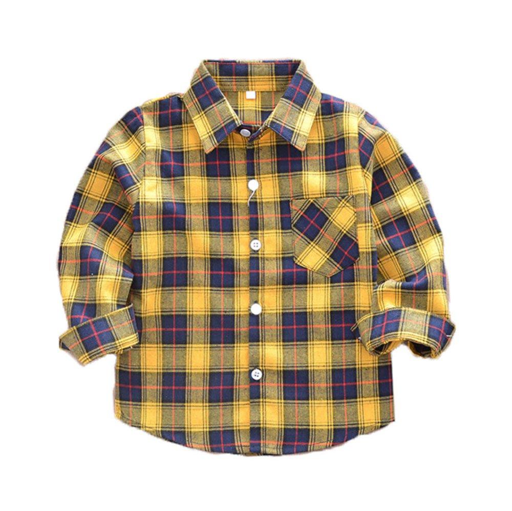 Camicie a quadri per bambini Ragazzi Camicie per camicie T-shirt a quadri per bambini 2-14 Magliette sportive Maglieria estiva Magliette unisex