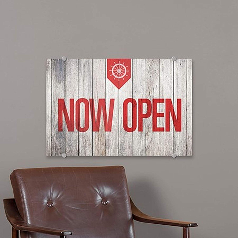 Now Open CGSignLab 27x18 Nautical Wood Premium Brushed Aluminum Sign