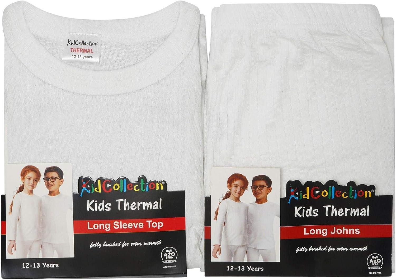 Set di Biancheria Intima Termica per Bambini KidCollection per Bambini e Bambine dai 2 ai 13 Anni Unisex Composto da Maglia a Maniche Lunghe e Pantaloni Coordinati