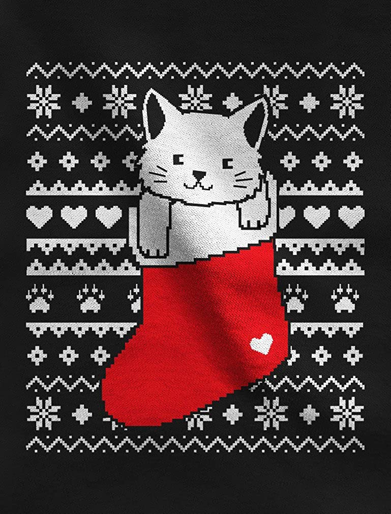 Cat in Stocking Kitty Ugly Christmas Sweater Toddler//Kids Long Sleeve T-Shirt 5//6 Black