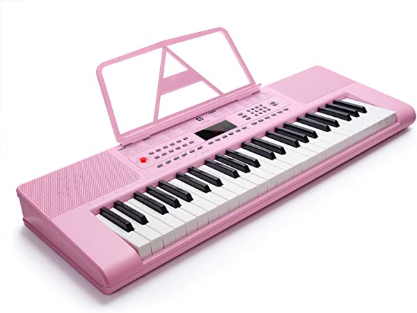 Piano Vangoa VGK4900 rosa de 49 teclas, pantalla electrónica LCD, micrófono y adaptador de potencia