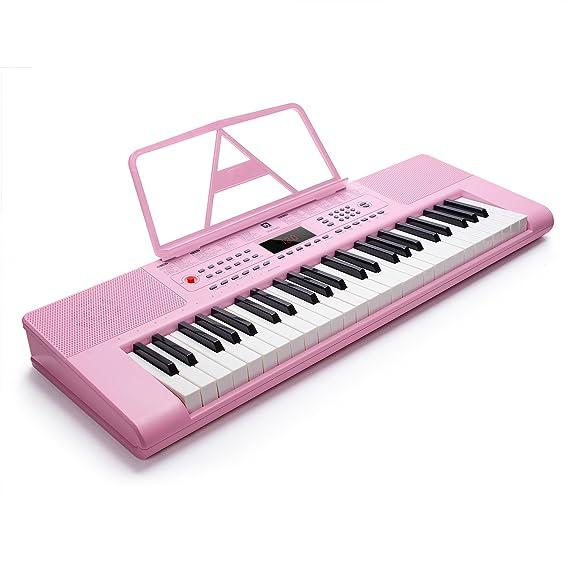 Vangoa VGK4900 - Teclado de piano electrónico (49 teclas, pantalla LCD con micrófono y adaptador de corriente), color rosa: Amazon.es: Instrumentos ...