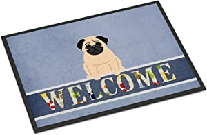 Caroline's Treasures BB5589MAT Pug Fawn Welcome Indoor or Outdoor Mat 18x27, 18H X 27W, Multicolor